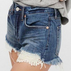 We The Free Destroyed Denim Shorts w/ Lace Detail
